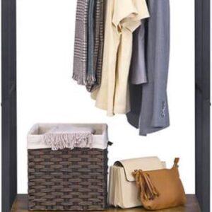Segenn's Kledingrek in bruin/zwart-Open kleerkast met kast-Houten kledingkast 80x40x180 cm
