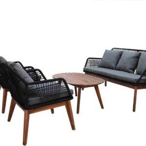 Seville loungeset zwart 4-delig