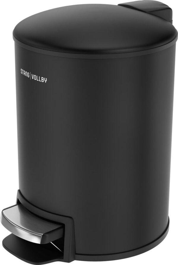 StangVollby Docksta Pedaalemmer - 12 Liter - RVS - Zwart - Prullenbak - Toilet - Badkamer - Kantoor - Klein - Soft Close Deksel - Chique Design - Zwarte Pedaal Prullenbak - Afvalzak Inkeping