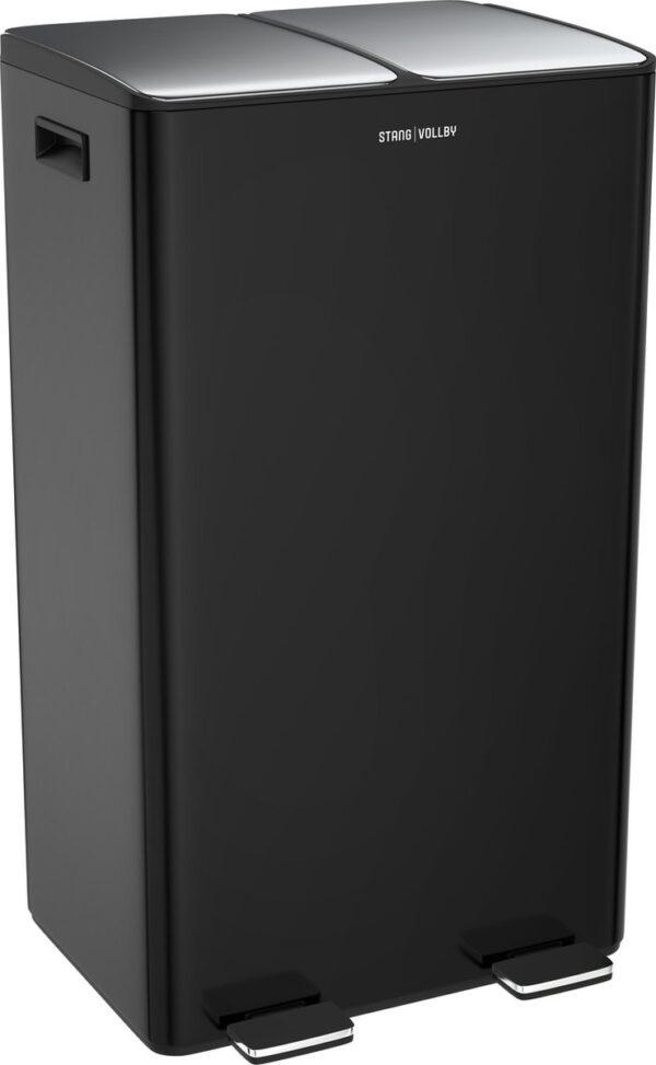 StangVollby Edsbyn prullenbak met 2 vakken - Duo Pedaalemmer 60 liter - 2x30L - Afvalscheiding Vuilbak - RVS - Zwart - Soft Close deksel - 2-vaks Afvalemmer - Inklapbare Pedalen - Luxe Design Afvalemmer - Keuken Afvalbak