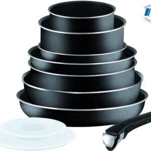TEFAL INGENIO ESSENTIAL Pannenset 10-delig L2008802 16-20-24-26-28cm - Alle warmtebronnen behalve inductie - Zwart