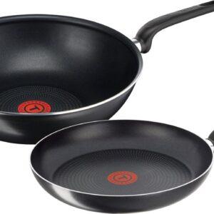Tefal Only Cook Pannenset - Koekenpan Ø 24 cm & Wokpan Ø 28 cm - Zwart - Niet geschikt voor inductie