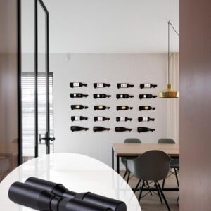 Wijnrek Wijnwand Duet - 6pack - Modern wijnrek aan de muur - Mat Zwart exclusieve editie