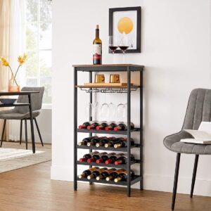 Wijnrek, flessenrek, voor 20 flessen, met glashouder, voor kelder, keuken, eetkamer, industriële stijl, 50 x 32 x 100 cm, vintage bruin-zwart LWR020B01