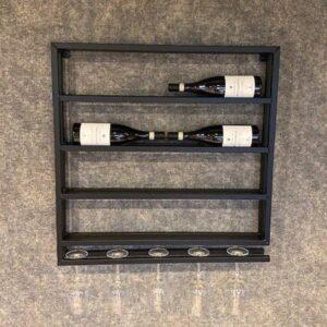 Wijnrek zwart metaal dubbel 8 inclusief glazenrek