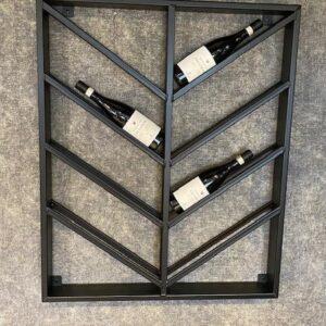 Wijnrek zwart metaal schuin 8 dubbel