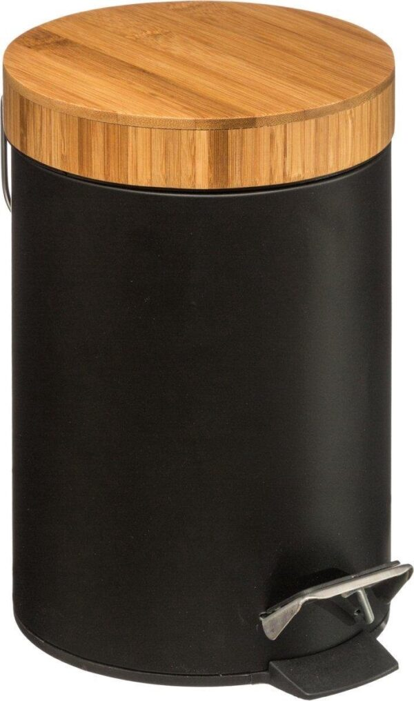 bamboe prullenbak zwart - Zwarte Pedaalemmer - 3 Liter - Metaal / Bamboe - Klein formaat - Eigentijds design voor in elk interieur