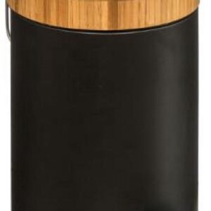 bamboe prullenbak zwart  -prullenbak - prullenbak badkamer- papierbak - pedaalemmer 3 liter