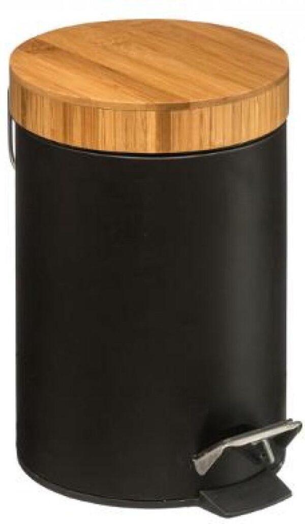bamboe prullenbak zwart| -prullenbak - prullenbak badkamer- papierbak - pedaalemmer 3 liter