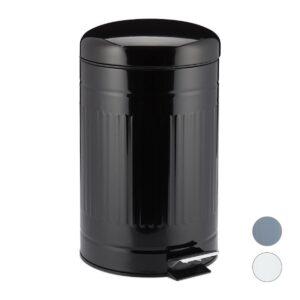 relaxdays pedaalemmer 12 liter - vuilnisbak - binnenemmer - rvs - prullenbak met deksel zwart