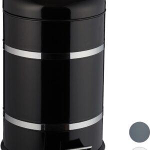relaxdays pedaalemmer 20 liter - binnenemmer - prullenbak met deksel - vuilnisbak - pedaal zwart