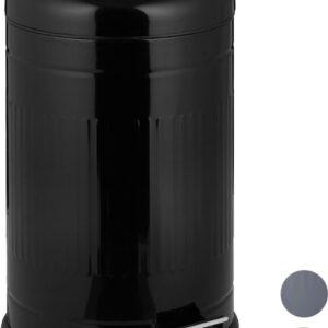 relaxdays pedaalemmer 20 liter - met binnenemmer - prullenbak met deksel - afvalemmer zwart