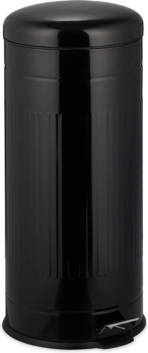 relaxdays pedaalemmer 30 liter - met binnenemmer - prullenbak met deksel - vuilnisbak zwart