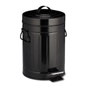 relaxdays pedaalemmer retro - 3 liter - binnenemmer - prullenbak met deksel - afvalemmer zwart