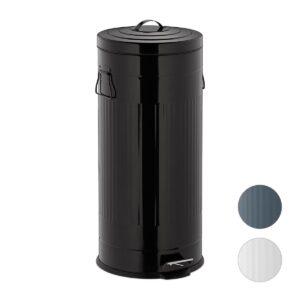 "relaxdays pedaalemmer ""retro"" 30 liter - prullenbak met pedaal - XL afvalemmer - rond zwart"