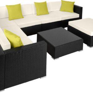tectake - Wicker loungeset Marbella, variant 2 zwart - 403836