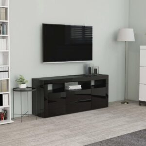 vidaXL Tv-meubel 120x30x50 cm spaanplaat hoogglans zwart VDXL_801821
