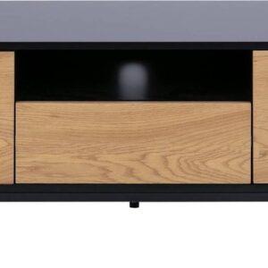 Belfurn - Thymo tv meubel in zwarte melamine met voorzijde in wilde eik