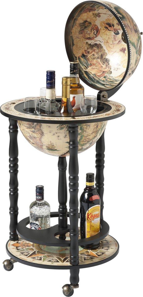 Brulo Wereldbol Globebar Wijnrek - ⌀ 33 cm - Zwart/wit - Vespucci