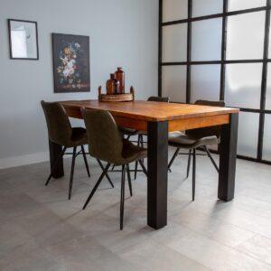 Dimehouse Kansas Eettafel Industrieel - 240 x 100 cm - Hout - Zwart Metaal