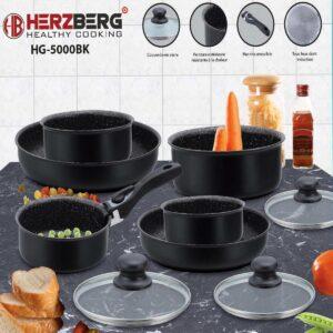 Herzberg - Set Lot 10-delige Pannenset inductie - Steengoeden - Pannensets - Afneembare handgreep - Glazen deksel - Geschikt voor oven - Met marmeren coating - PFAS-vrij - Zwart