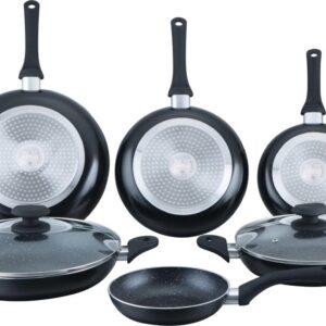 Herzberg - Set Lot 8-delige Pannenset inductie - Pannensets - Glazen deksel - Geschikt voor oven - Met marmeren coating - PFAS-vrij - Zwart