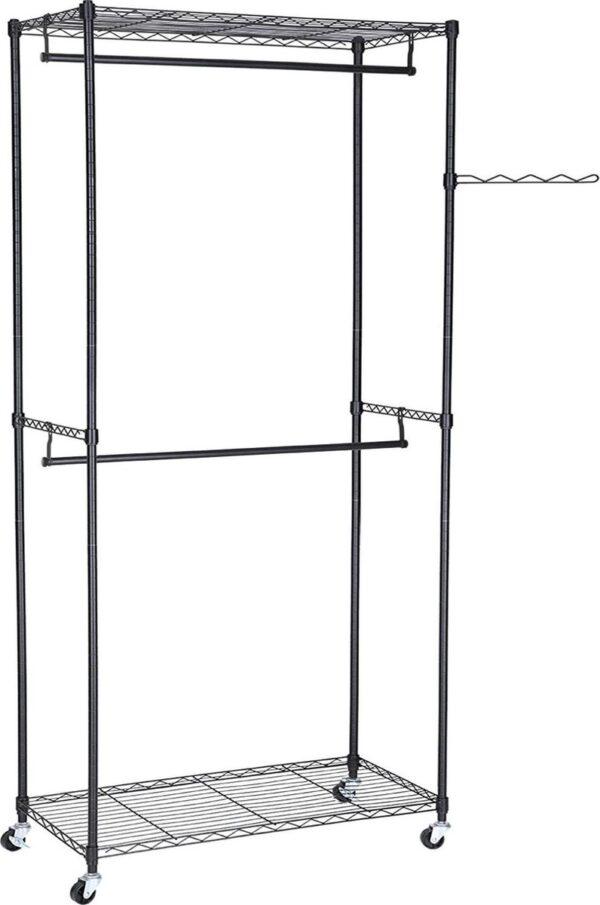 Kledingkast op wieltjes, kledingrek van metaal, kapstok met 2 kledingstangen en 2 verstelbare planken, 90 x 45 x 200 cm, zwart LGR60P