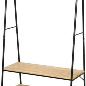 Kledingrek - Garderoberek - Jassenrek - Met Hangstang en Twee Planken - Met Schoenenplank - Zwart - Naturel - Metaal - MDF - Strak Design - Industriële Look - 165x46x94cm