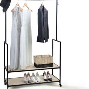MuCasa® Modern kledingrek op wielen | zwarte kledingkast | metalen en houten schoenenrek, mobiel ophangrek, karrenkledingrek voor slaapkamer
