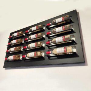 Wijnrek wandmontage | Stijlvolle moderne wijnrekken | Stapelbaar ontwerp voor 12 flessen wijn - Zwart - Metaal - Met kleuren ledverlichting