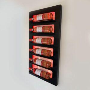 Wijnrek wandmontage | Stijlvolle moderne wijnrekken | Stapelbaar ontwerp voor 6 flessen wijn - Zwart - Metaal - Met kleuren ledverlichting