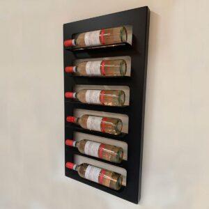 Wijnrek wandmontage | Stijlvolle moderne wijnrekken | Stapelbaar ontwerp voor 6 flessen wijn - Zwart - Metaal - Met warm wit kleuren ledverlichting