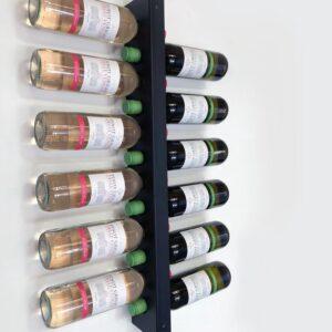 Wijnrek wandmontage | Wijnpaal | Stijlvolle moderne wijnrekken | Wijnrek voor maximaal 12-34 flessen wijn - Zwart - Metaal