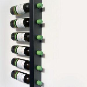 Wijnrek wandmontage | Wijnpaal | Stijlvolle moderne wijnrekken | Wijnrek voor maximaal 6-18 flessen wijn - Zwart - Metaal