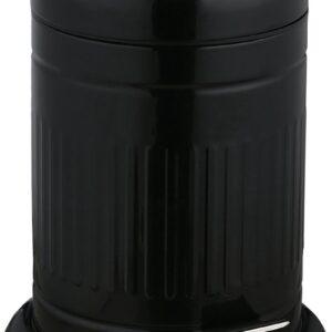 relaxdays pedaalemmer 3 liter - softclose prullenbak - afvalbak met binnenemmer - metaal zwart
