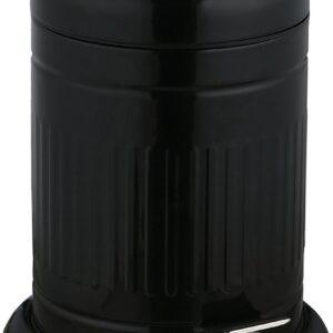 relaxdays pedaalemmer 5 liter - badkamer prullenbak met deksel - softclose vuilnisbak rond zwart