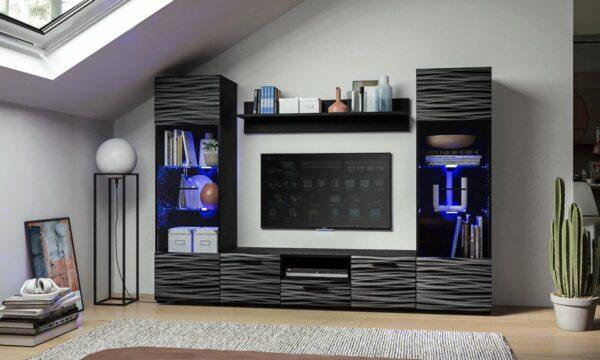 AZ Home - Wandmeubel Modica -Tv Meubel Set-Zwart/Zwart hoogglans - Led
