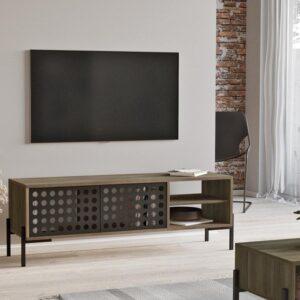 Claus & Clyde© Vercelli - Meubelset - Tv-meubel en Salontafel Set - Industrieel - Modern - Eiken/Bruin/Zwart