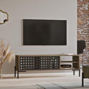 Claus & Clyde© Vercelli - TV-meubel - Eiken/Bruin/Zwart - Metalen Deuren - Industrieel - Modern - 140 x 40 x 49.1