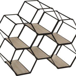 Flessenrek - Wijnrek - Voor 6 Flessen - Honingraat Rek - Hexagon- Zeshoek - Metaal - MDF - Zwart - Bruin - Industrieel Ontwerp - 26x15x29.5cm