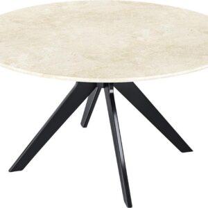 KIYO Ronde Eettafel - Travertin (Zwarte Middenpoot) - 110 cm