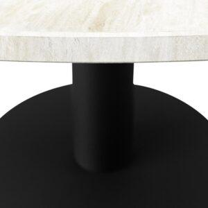 KIYO Ronde Eettafel - Travertin (Zwarte Middenpoot) - 130 cm