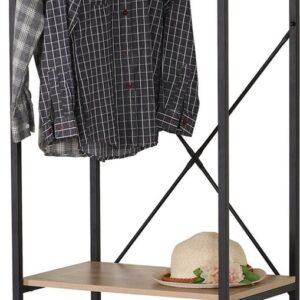 Kledingrek - Garderoberek - Met Hangstang en Twee Planken - Zwart - Naturel - Metaal - MDF - Strak Design - 60x40.4x167cm