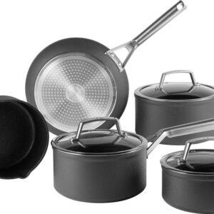 Ninja Foodi C35000EU Zerostick Pannenset - 5 delige kookset - Zwart - Geschikt voor alle warmtebronnen, inclusief gas, inductie en oven