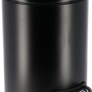 Pedaalemmer - Afvalbak - Prullenbak - Pedaal - Metaal - 3L - Soft Close - Mat Zwart - Voor in de Badkamer Toilet of Keuken - 25.5x17x23cm