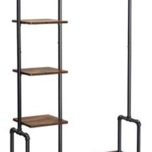 Segenn's 5ster Industrieel Kledingrek op Wieltjes - Kapstokken - Kledingstang - Kledingrekken - Vintage - 4 Wielen - 5 Legplanken - Bruin/Zwart - 103,5 x 40 x 174,5 cm