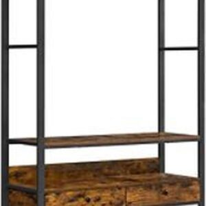 Segenn's garderobe - Kledingrek - opengarderobe - kledingstandaard - schoenenrek - 2 lades - roosterplank - industrieel design - vintage bruin-zwart 120 x 40 x 180 cm