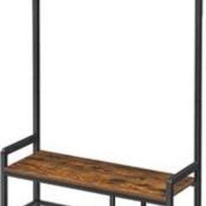 Segenn's kapstok - kledingrek met 7 haken en zitting - 1 roosterplank - in de gang - woonkamer - metalen frame - industriële stijl - vintage bruin-zwart