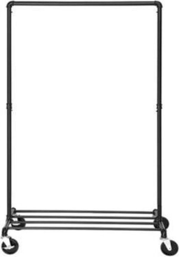 Segenn's zwaar metalen kledingrek op wielen - belastbaar tot 90 kg - in industrieel design - kapstok met 1 kledingroede en plank - voor slaapkamer - wasruimte - zwart
