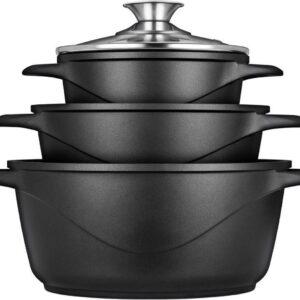 Smile 8 Delige Pannenset - Antiaanbaklaag - Vaatwasser bestendig - Zwart - Geschikt voor iedere kookplaat